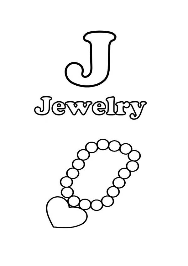 j is for jewelry coloring page  coloring sky