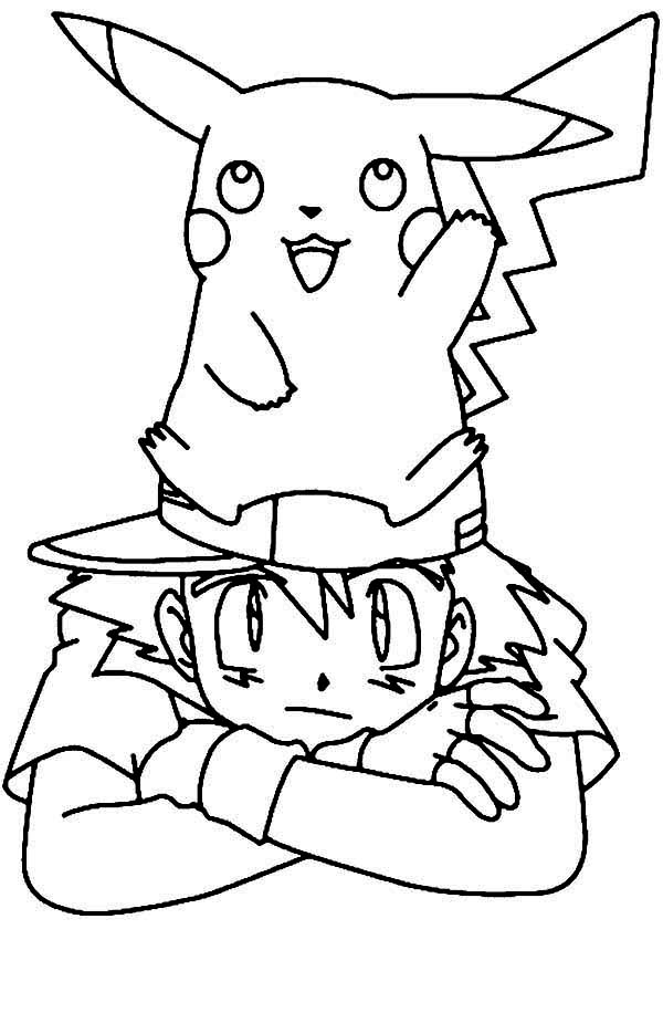 Ash and pikachu coloring pages coloring page for kids