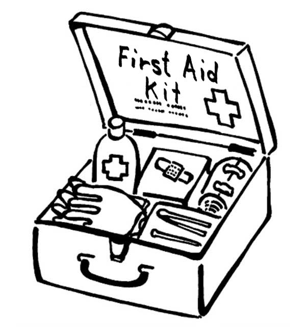 first aid box for medical purposes coloring page
