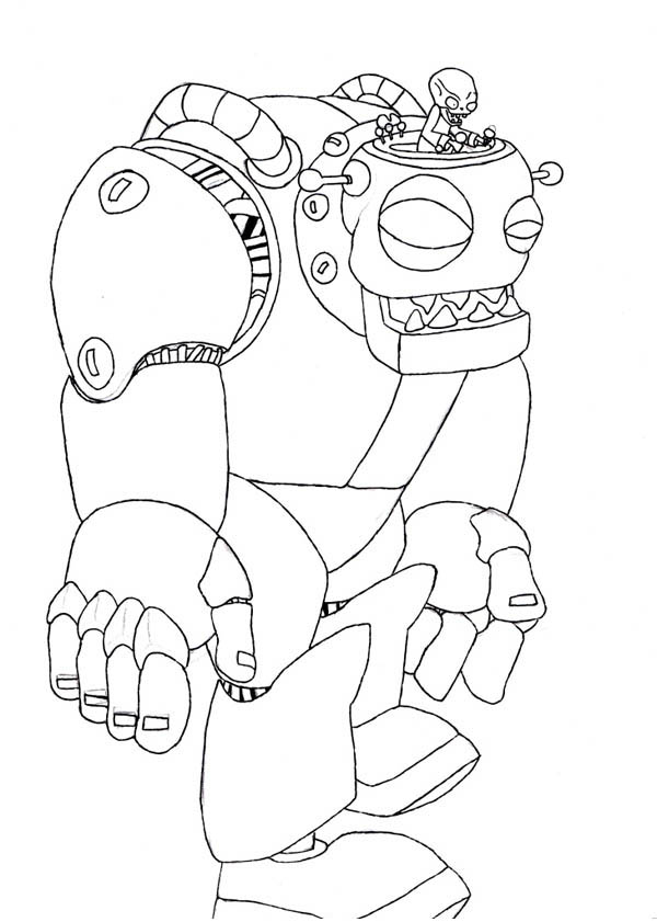 Plant Vs Zombie Robot Coloring Page Coloring Sky
