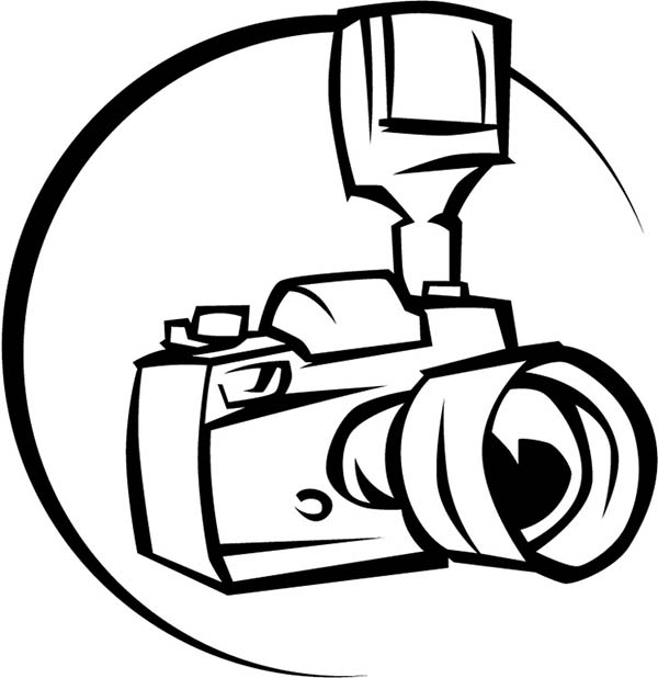 professional camera for photography coloring page
