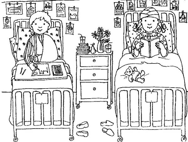 two little patient given medical treatment coloring page