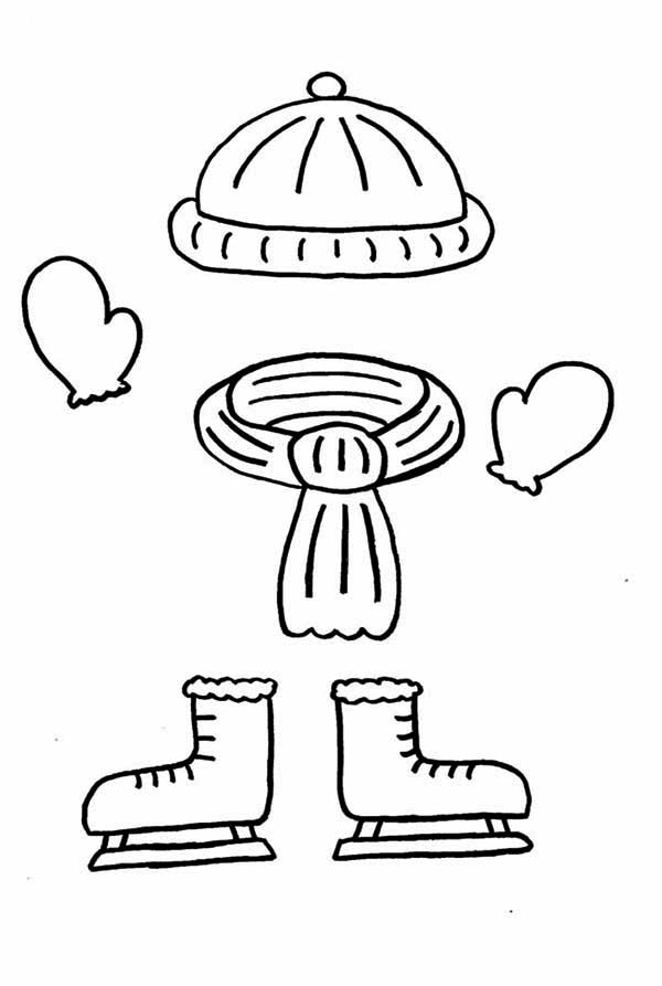 Things That Should Be Worn In Winter Season Coloring Page