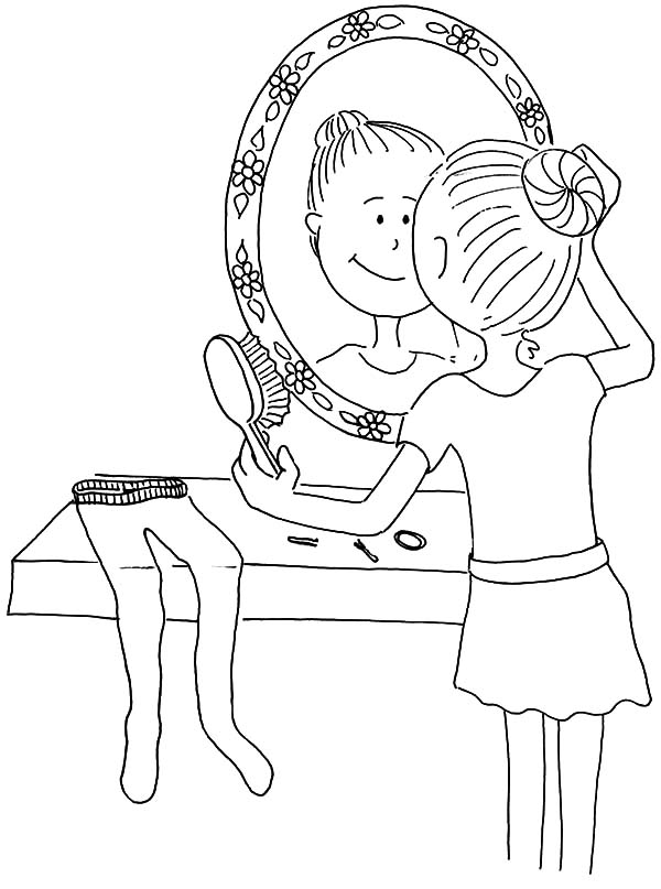 Ballet Girl Girl Combing Her Hair Coloring Pages Coloring Sky