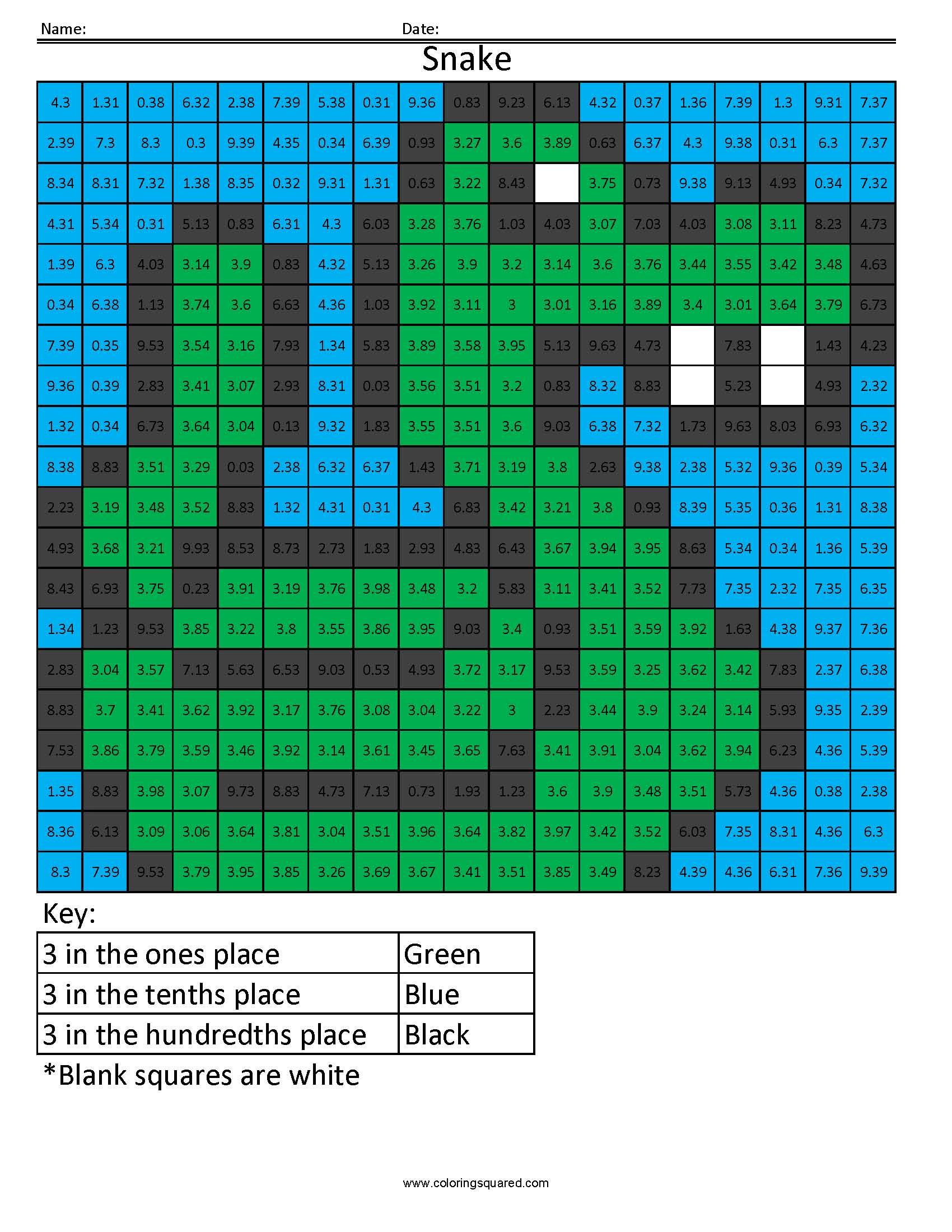 Dv3 Snake Color Free Fractions Decimals Percent Worksheet