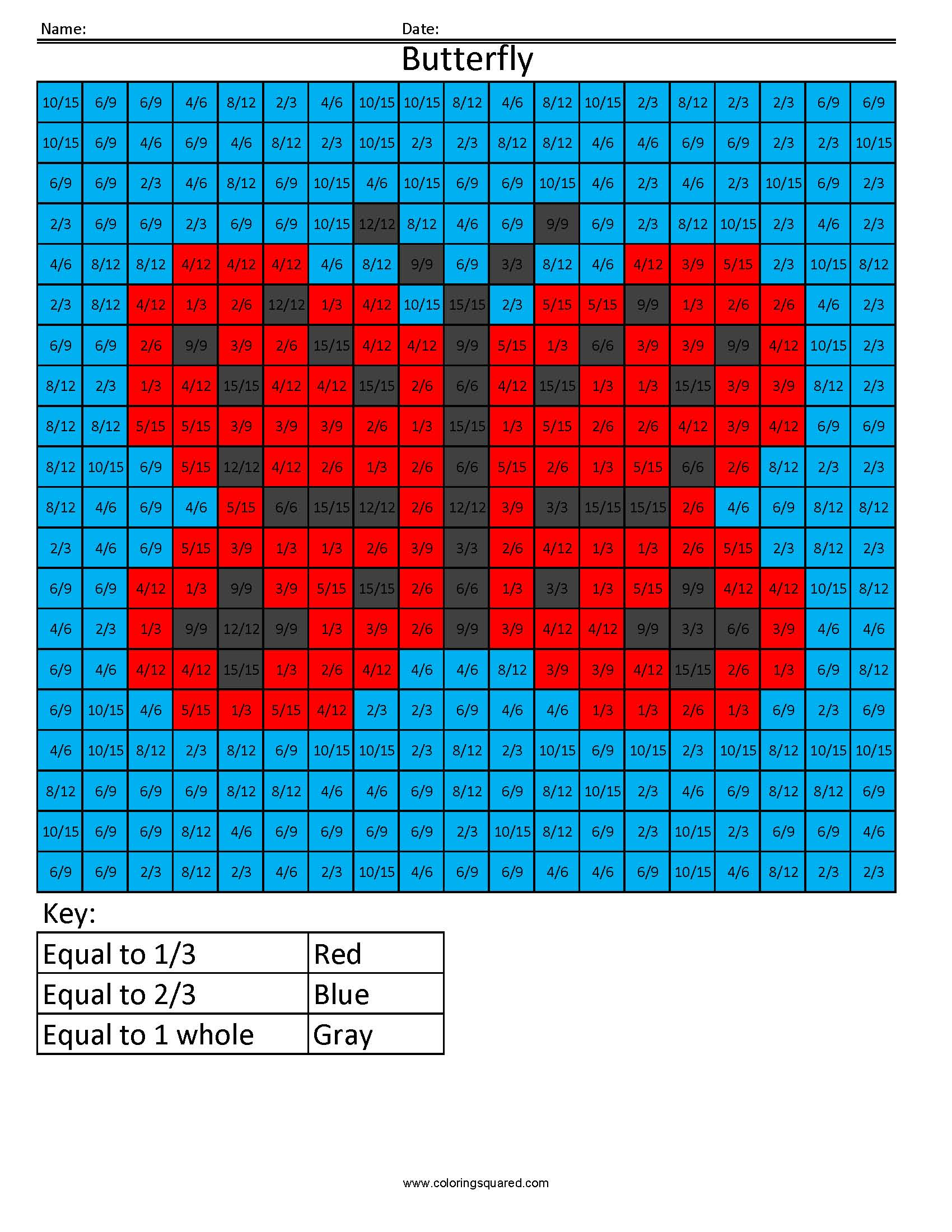 Ff1 Butterfly Color Free Fractions Decimals Percent Worksheet