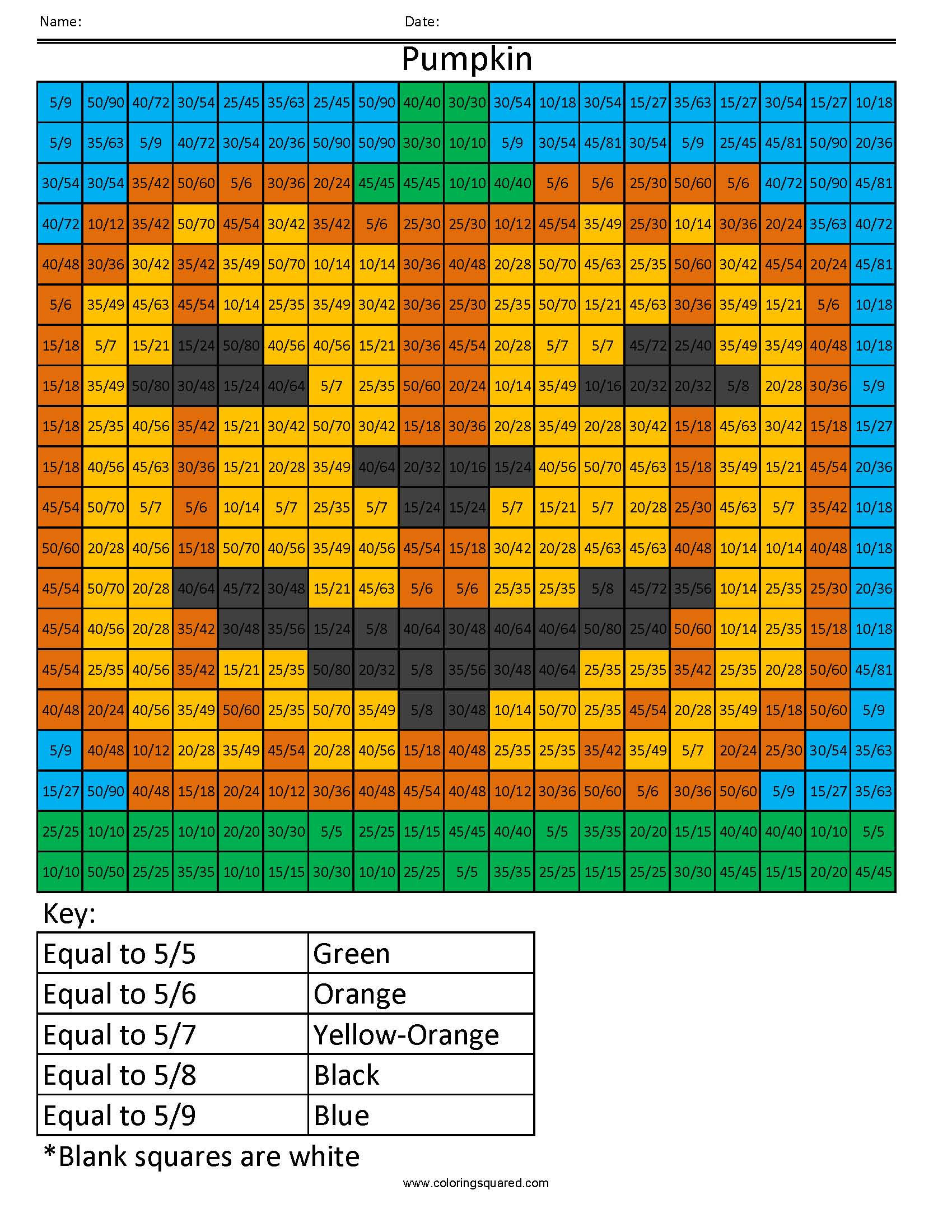 Ff20 Pumpkin Color Free Fractions Decimals Percent