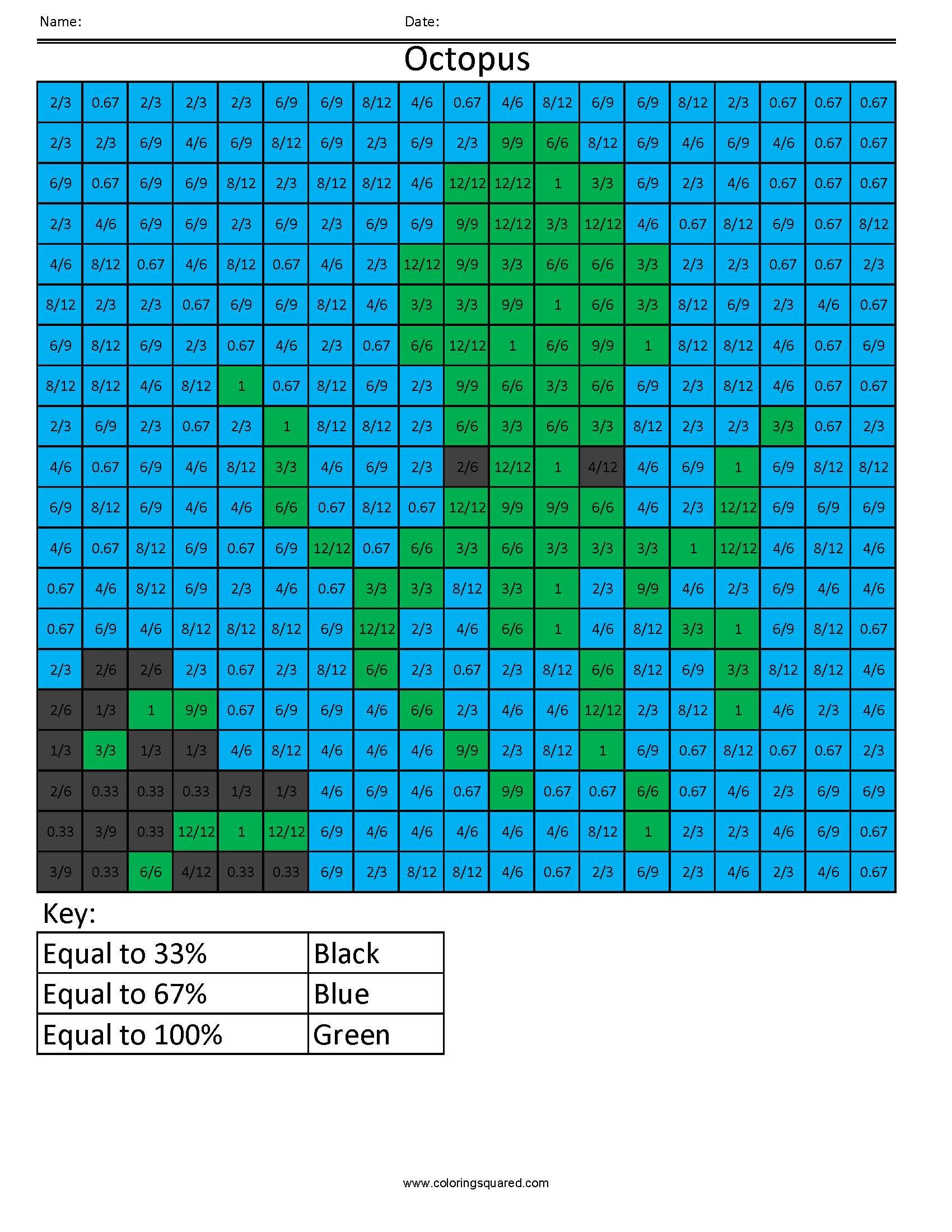 Pp2 Octopus Color Free Fractions Decimals Percent