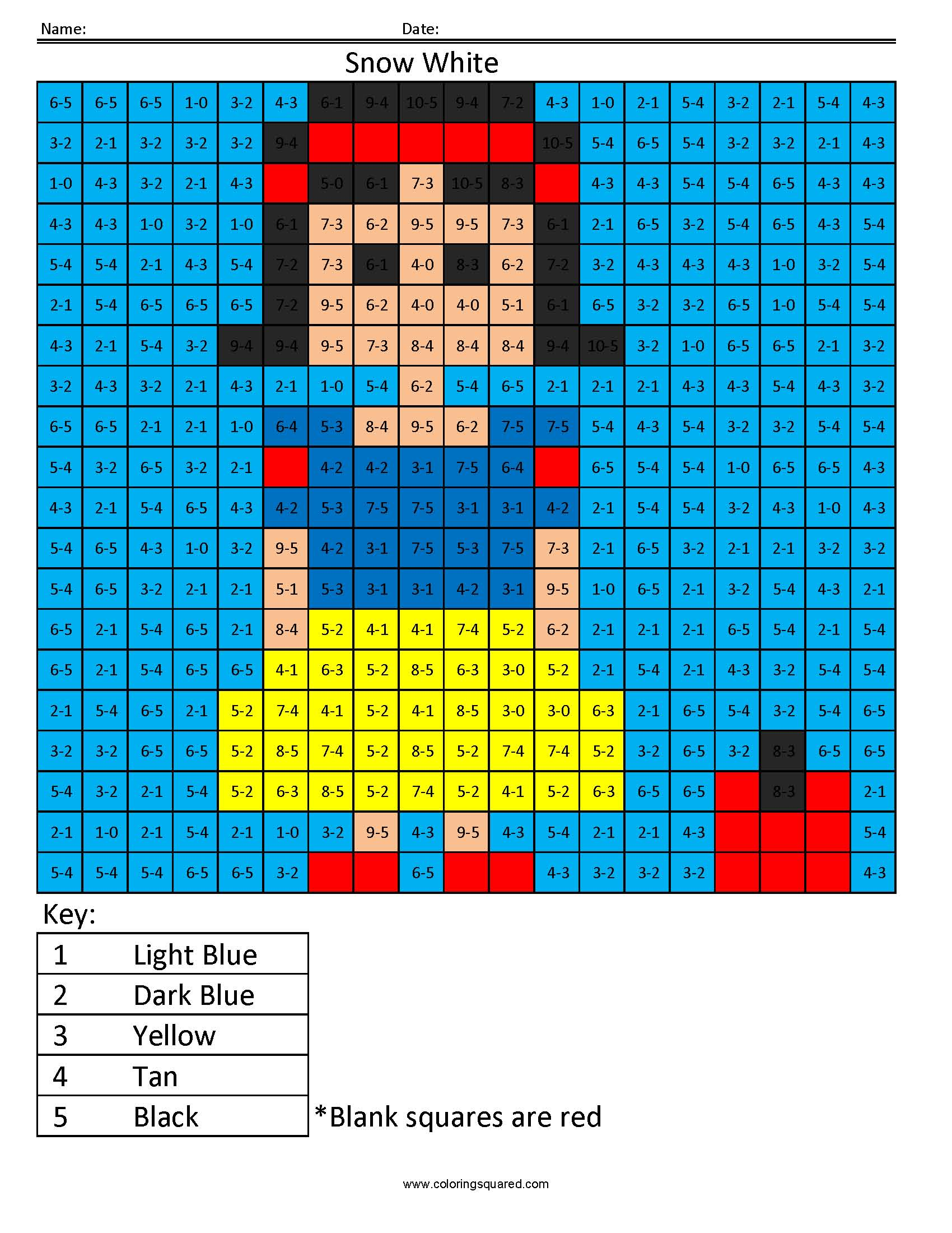 Snow White Subtraction Color Disney Princess Coloring