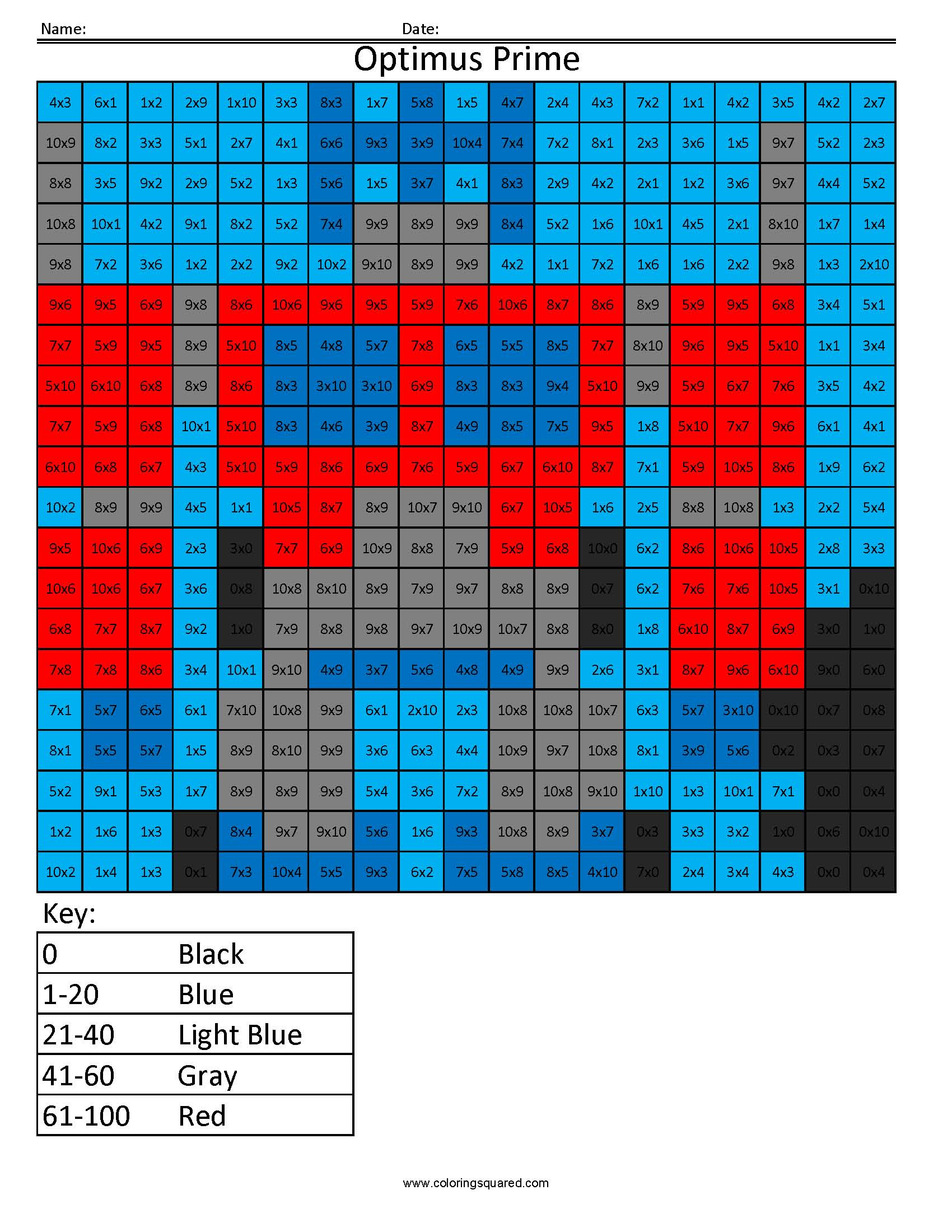 11 Optimus Multiplication Division Math Worksheets