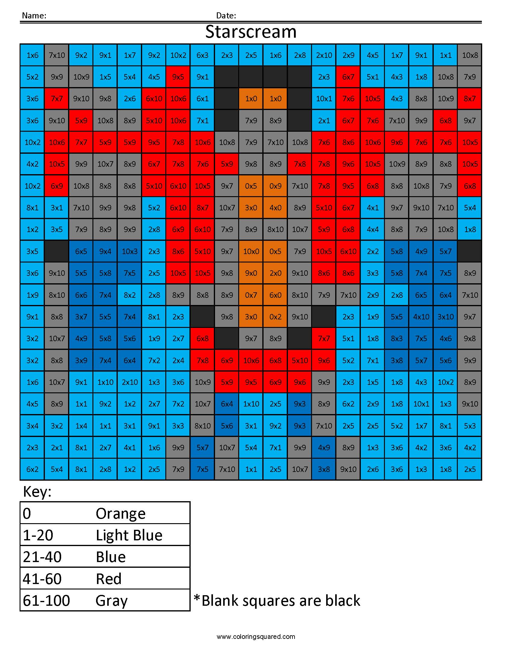 15 Starscream Multiplication Division Math Worksheets