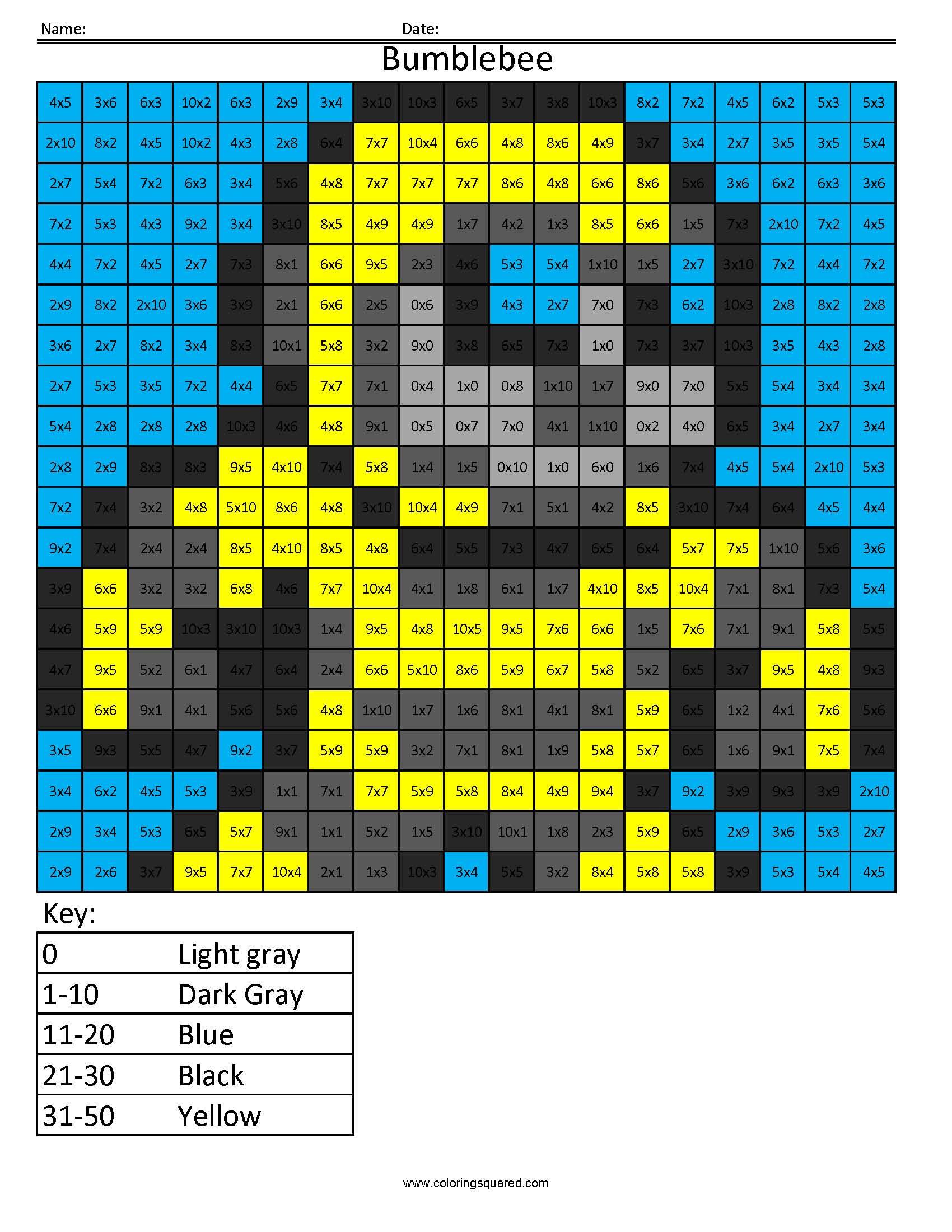 5 Bumblebee 2 Multiplication Division Math Worksheets