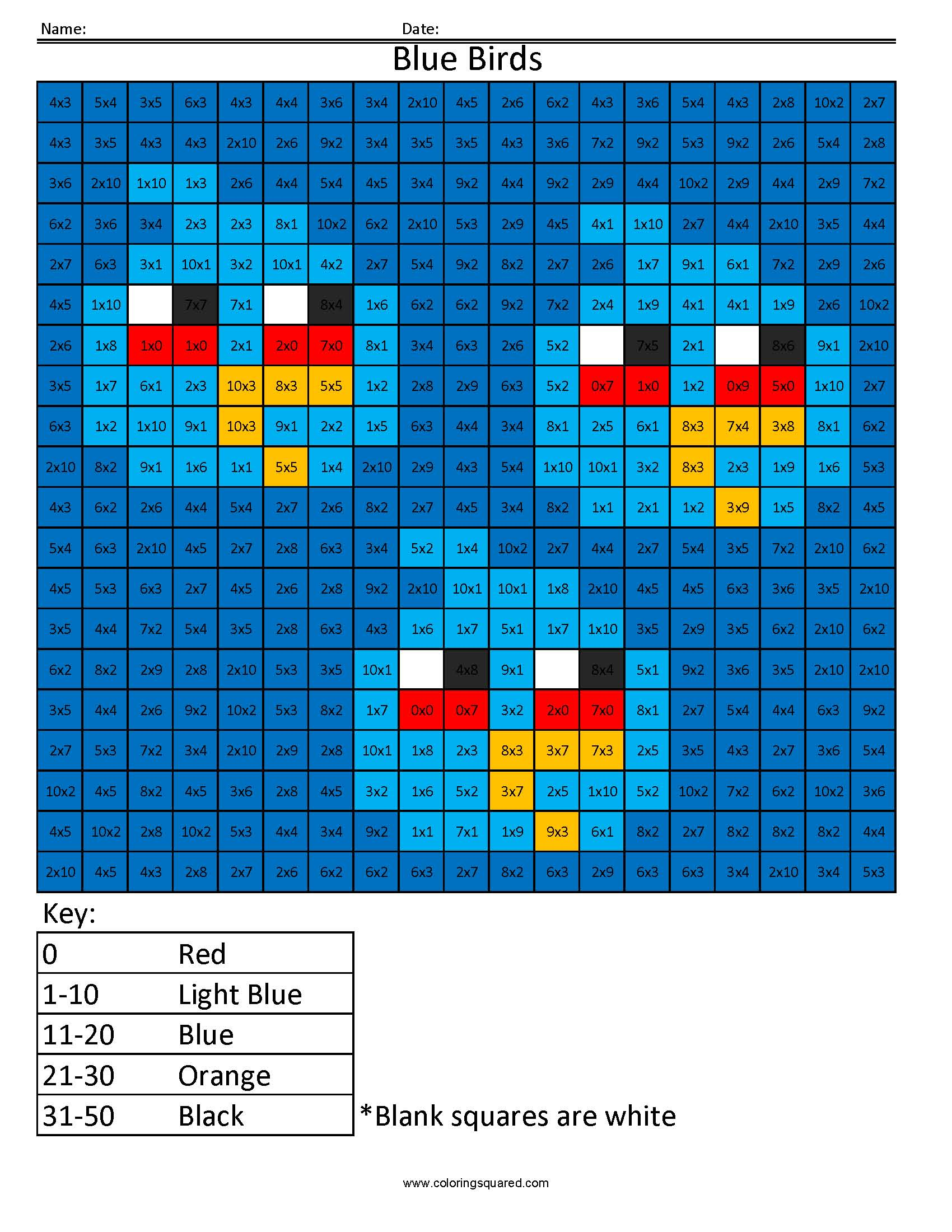 Md10 Blue Birds Multiplication Division Times Table Practice