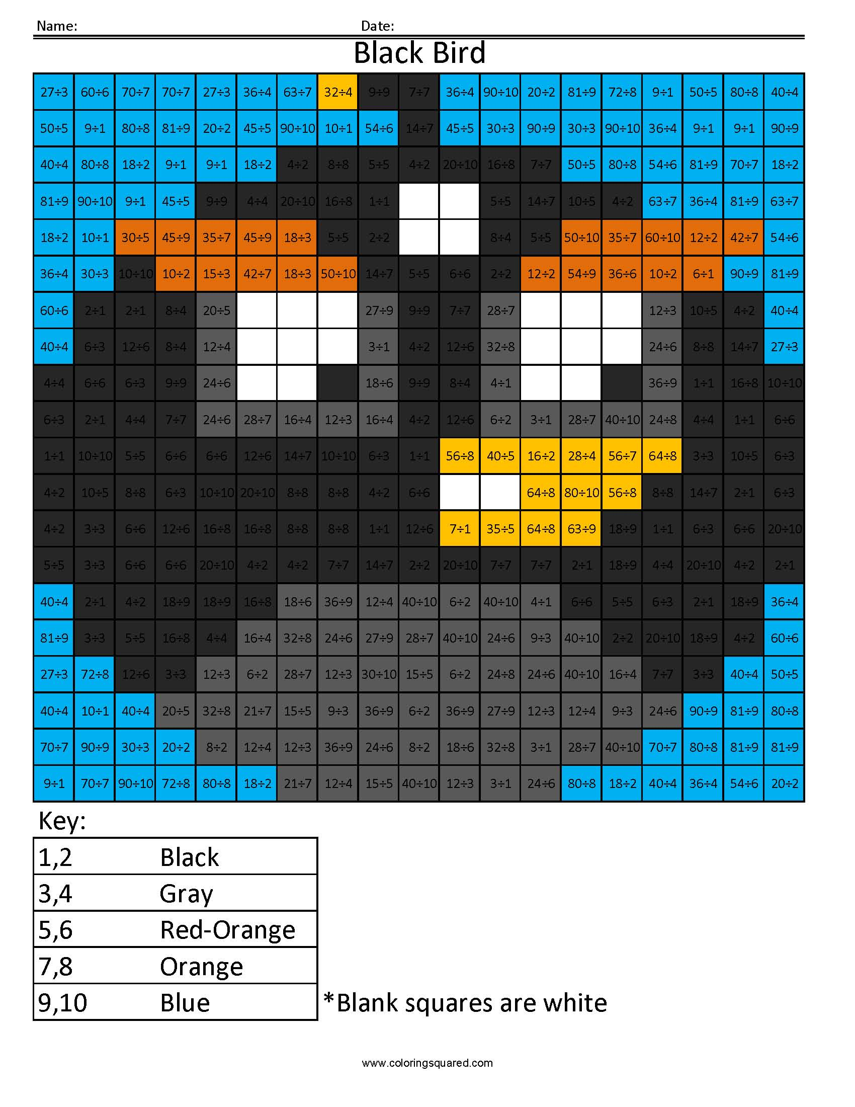 Md5 Black Bird Multiplication Division Times Table Practice
