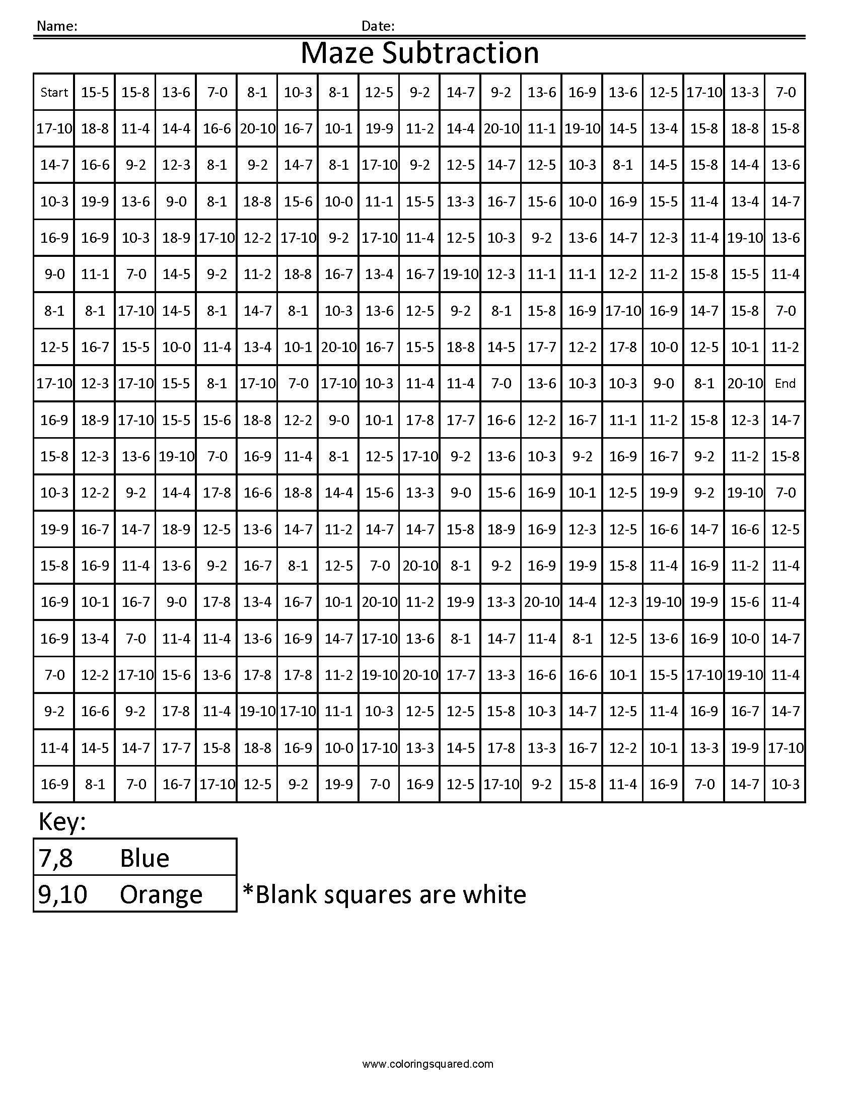 3dsc10 Maze Free Math Fact Coloring Pages