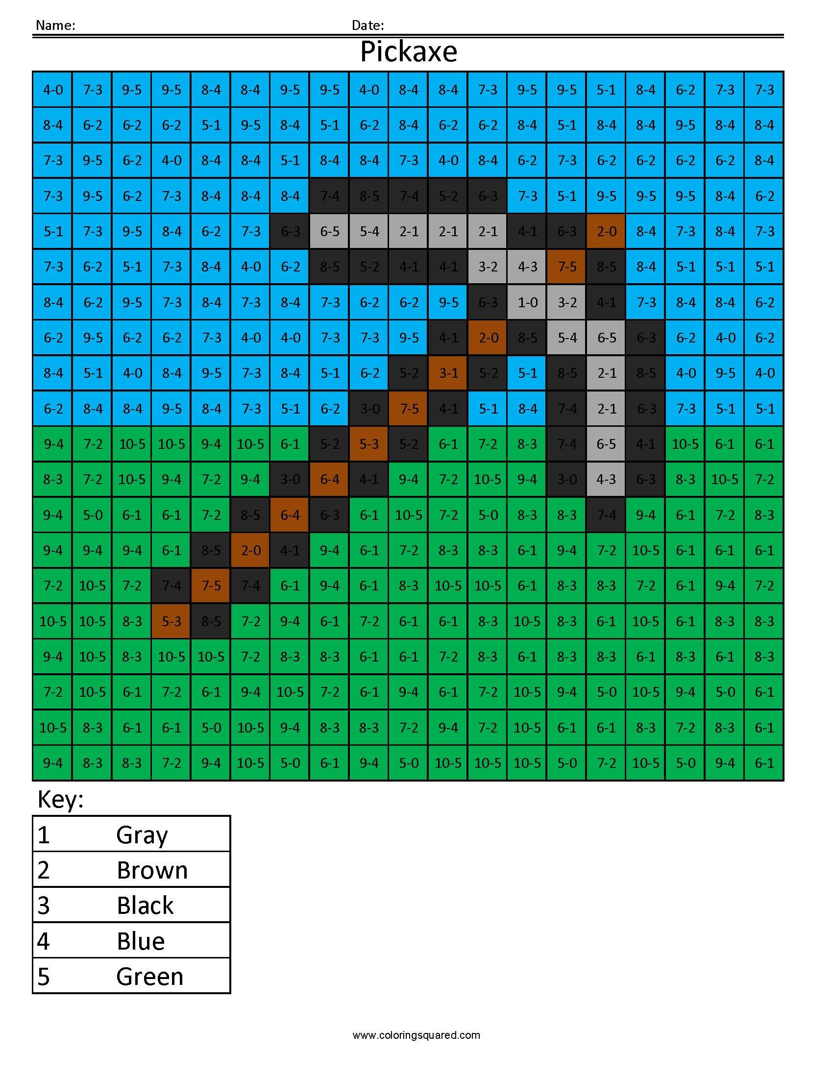 Ma2 Minecraft Pickaxe Addition And Subtraction Coloring