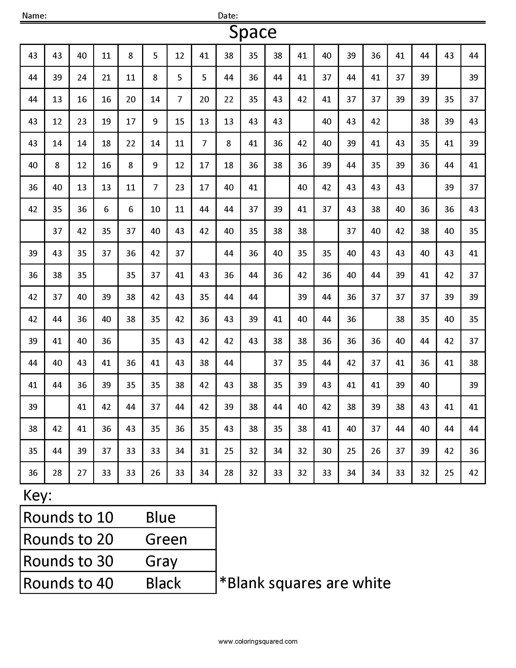Rounding Worksheets Rrec1 Space Free Math Coloring Pages