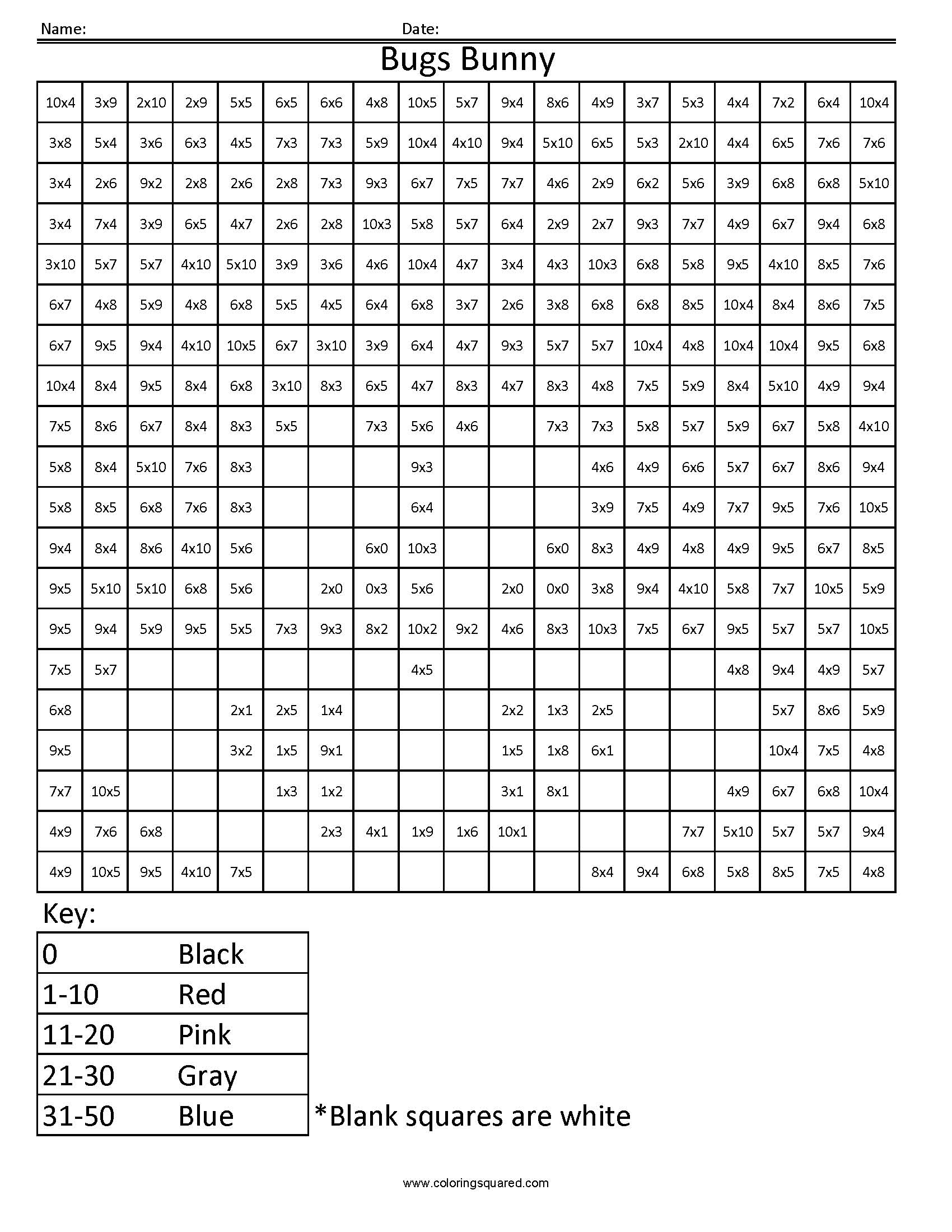 1md Bugs Bunny Cartoon Worksheet Multiplication