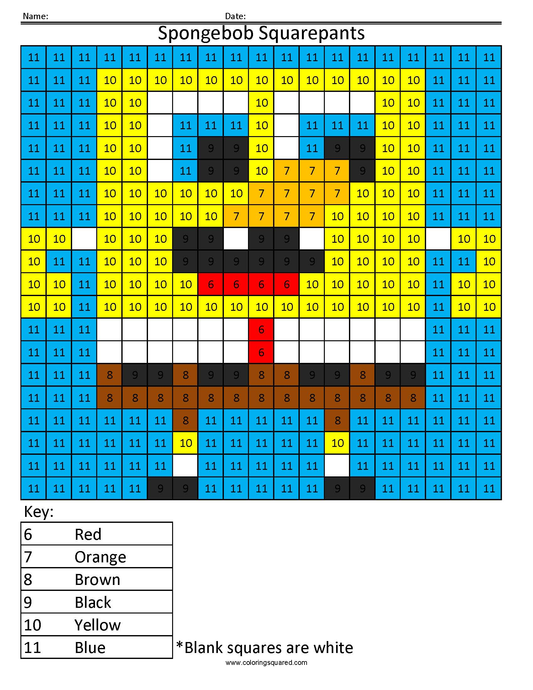 Spongebob Squarepants Color By Number