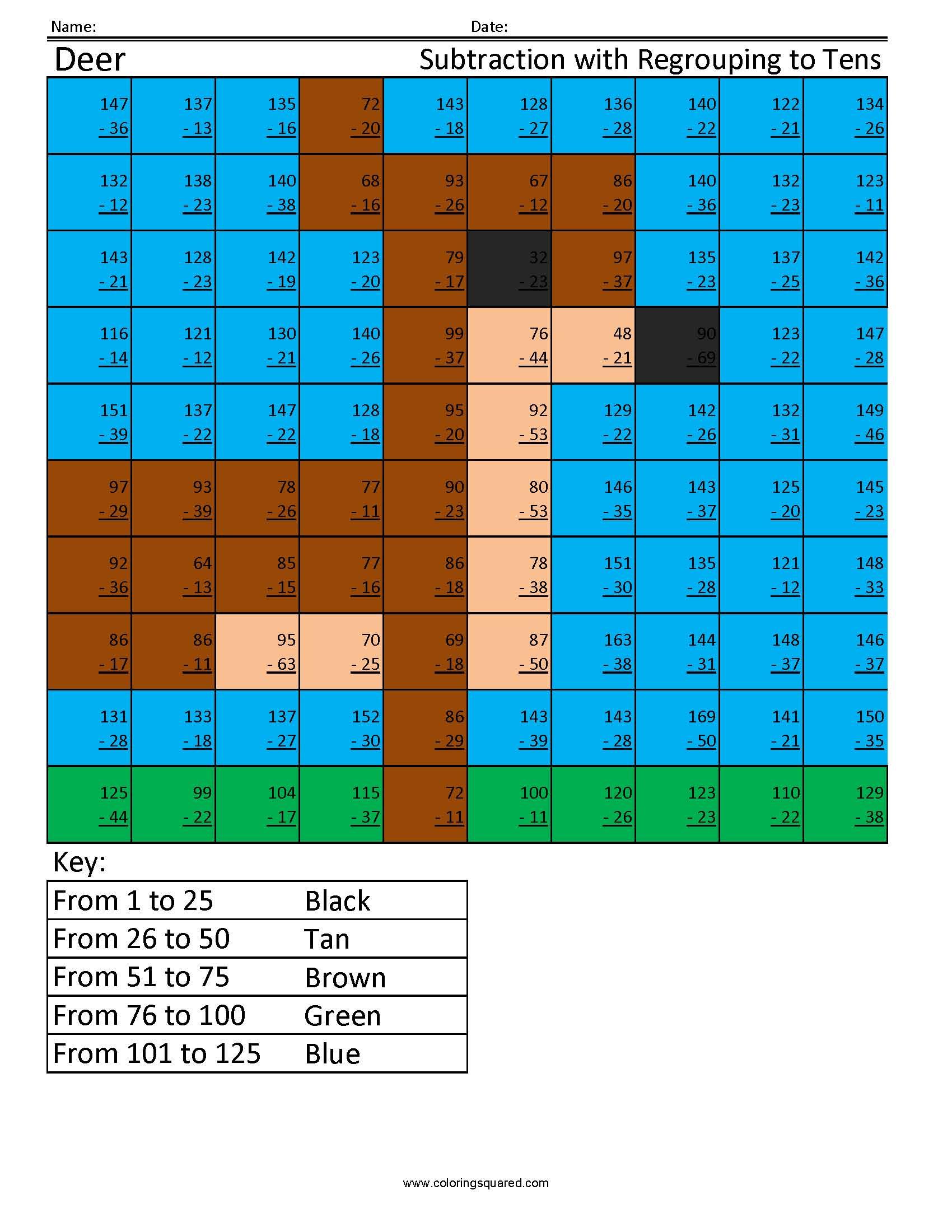 Sa2 Deer Subtraction Regrouping Coloring Squared