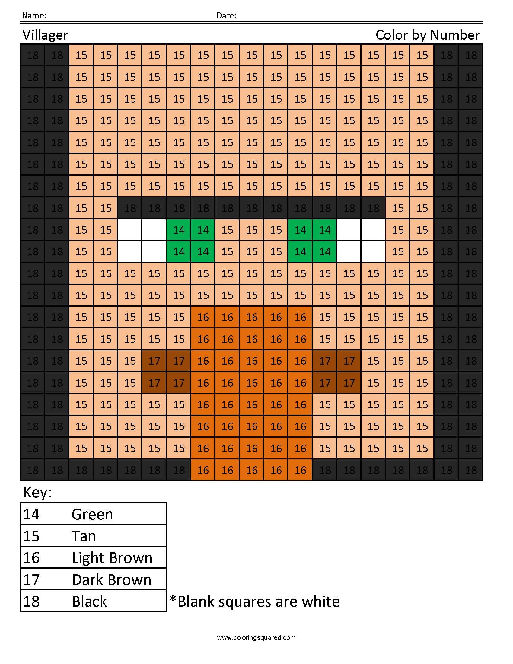 Villager Color By Number