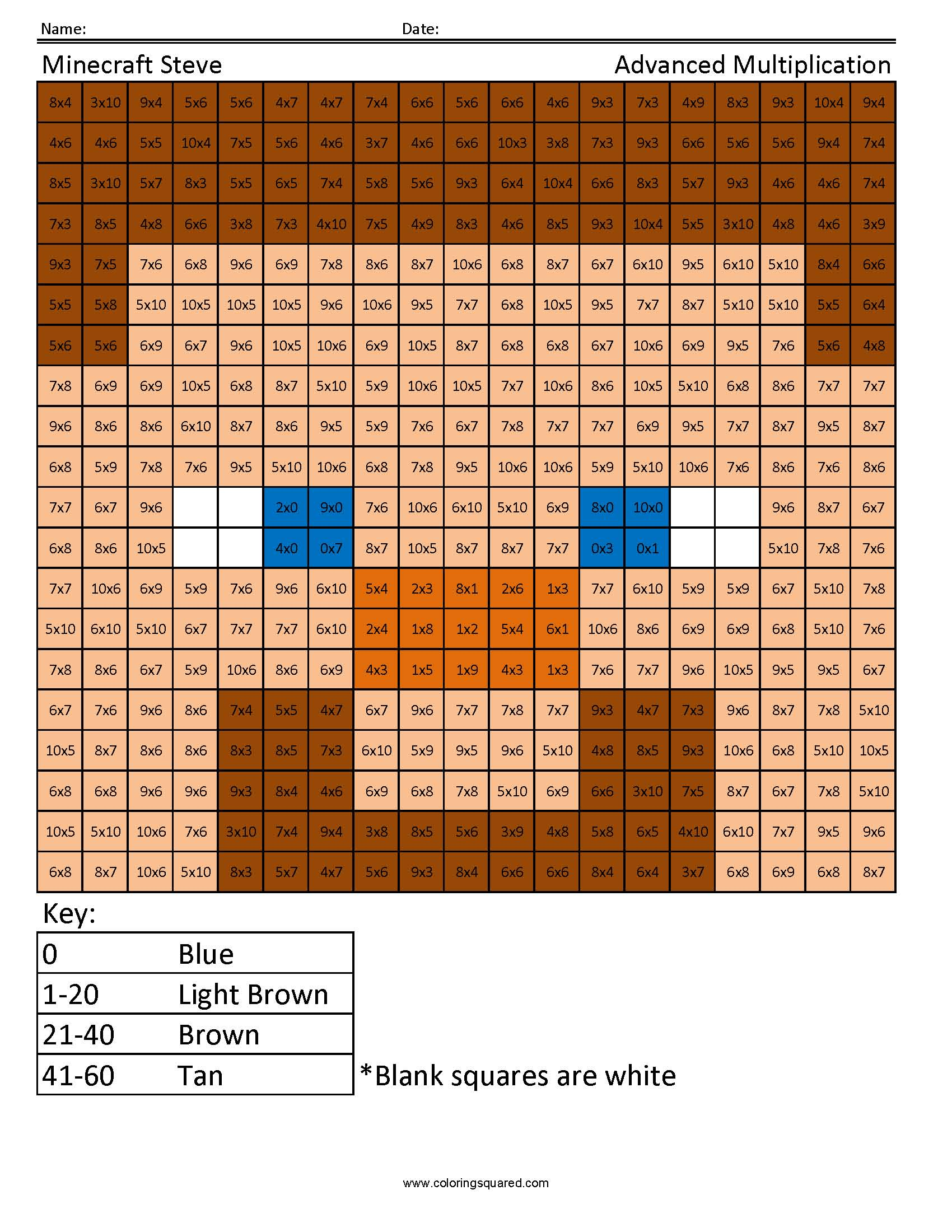Minecraft Steve Advanced Multiplication Answer Key