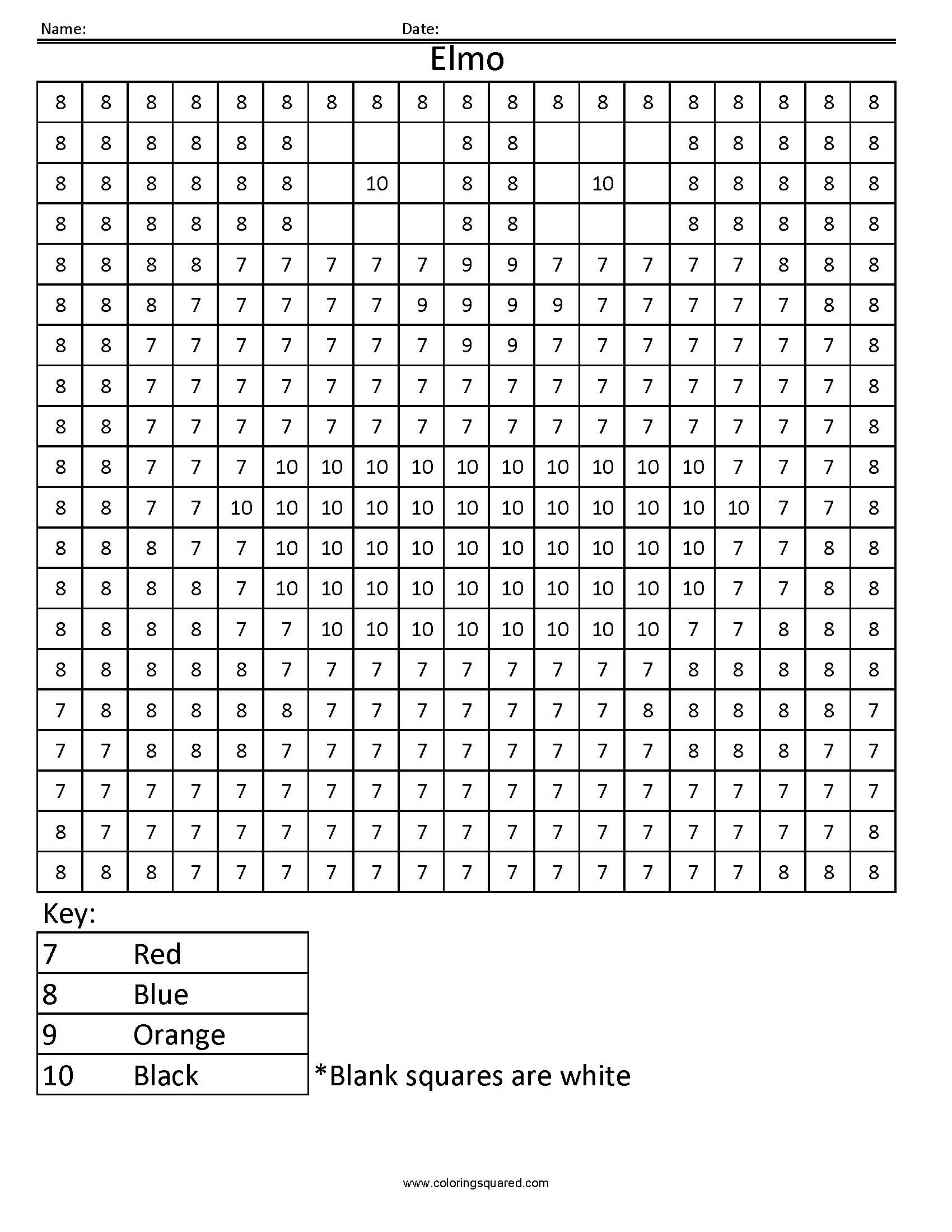 Coloring Square Worksheet Place Value Coloring Pages