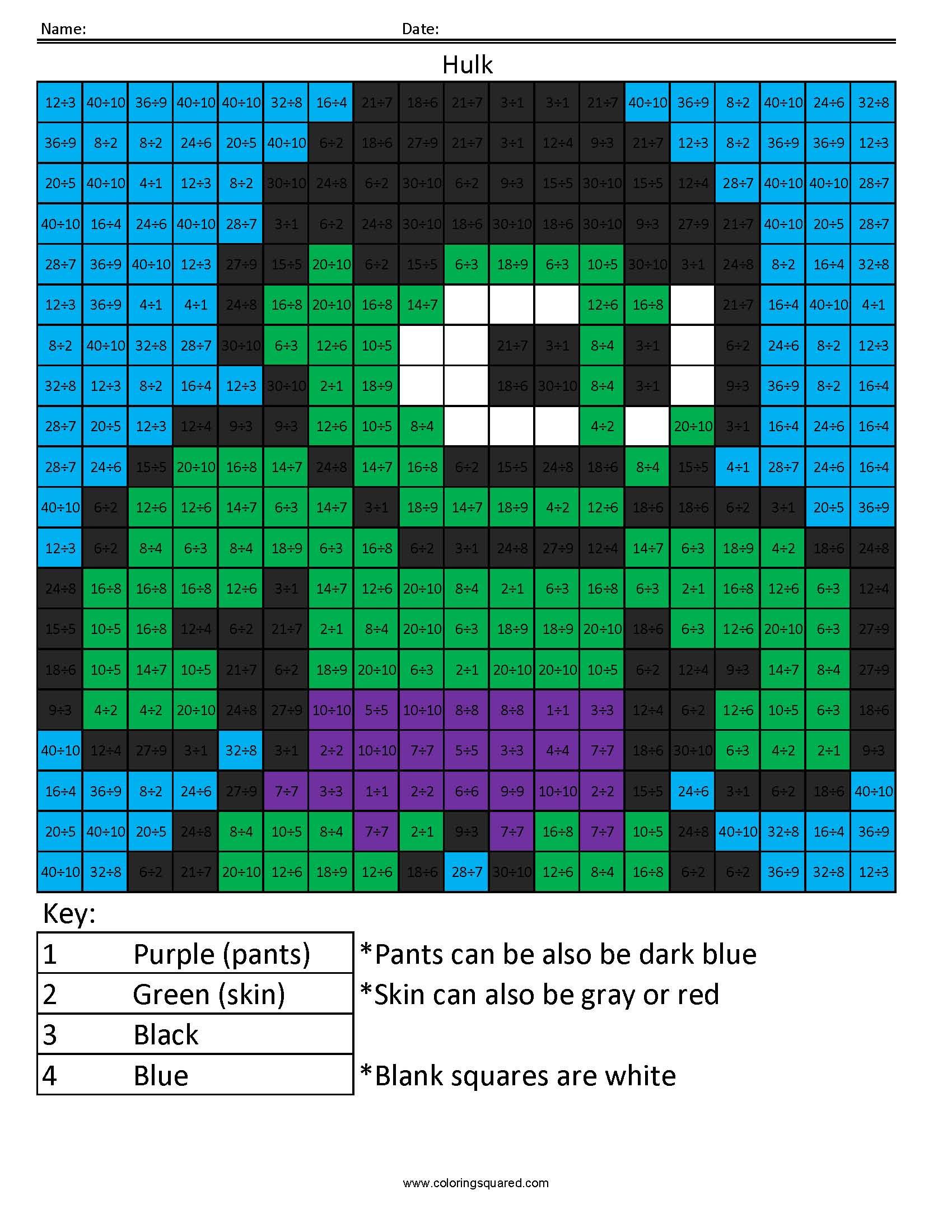 Hulk Basic Division Coloring Squared