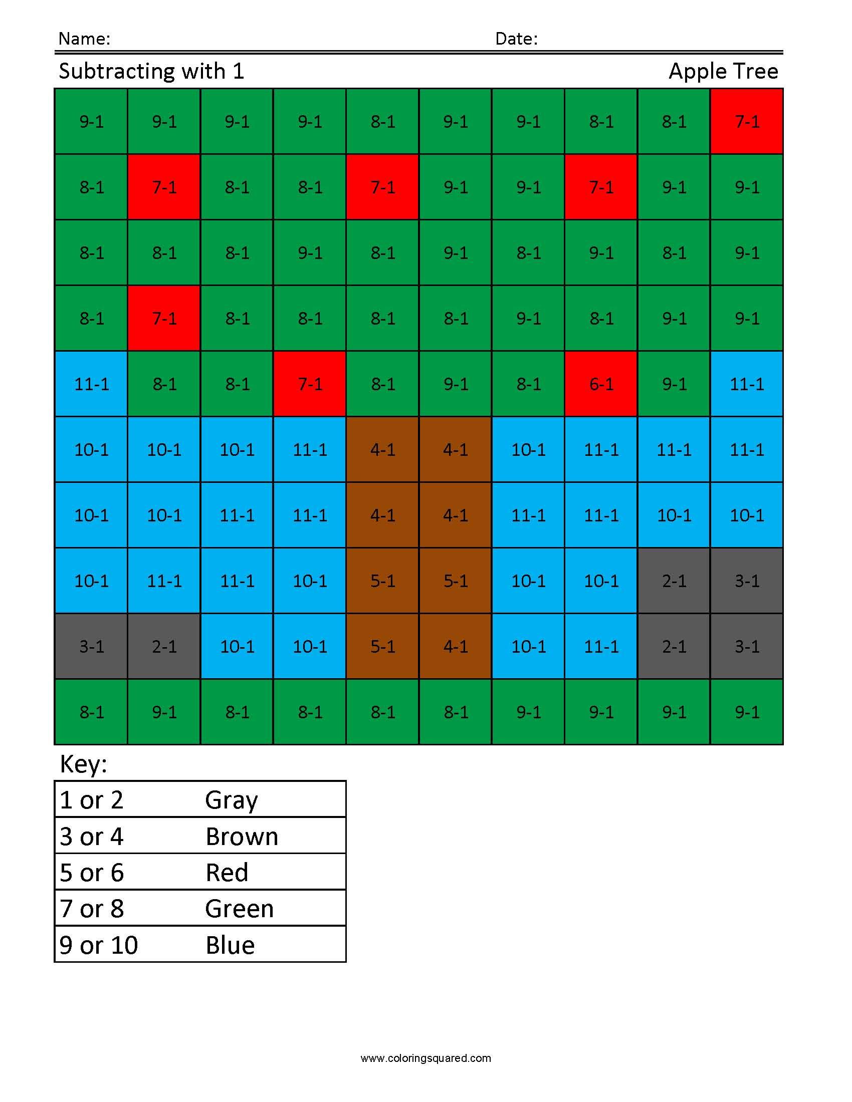 1g11 Apple Tree Subtraction First Grade Math