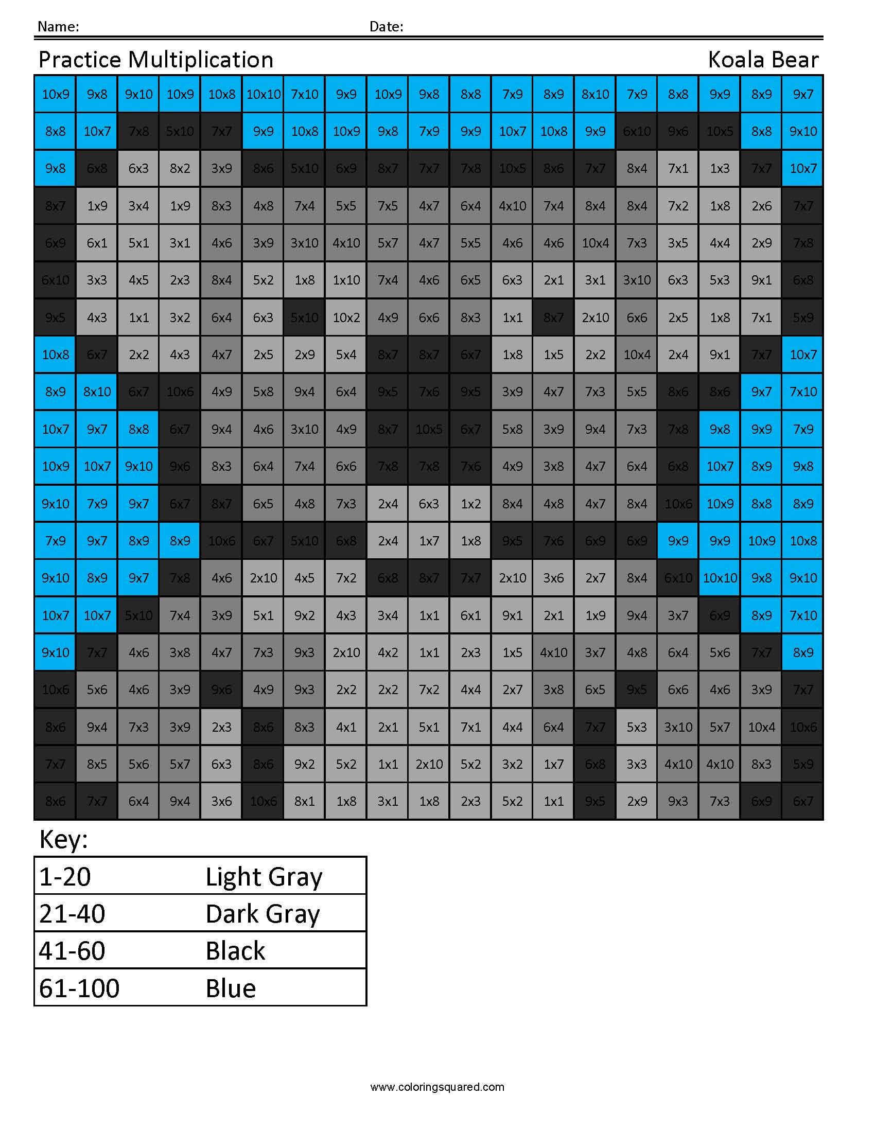 4g3 Multiplication Koala Bear 4th Grade Math