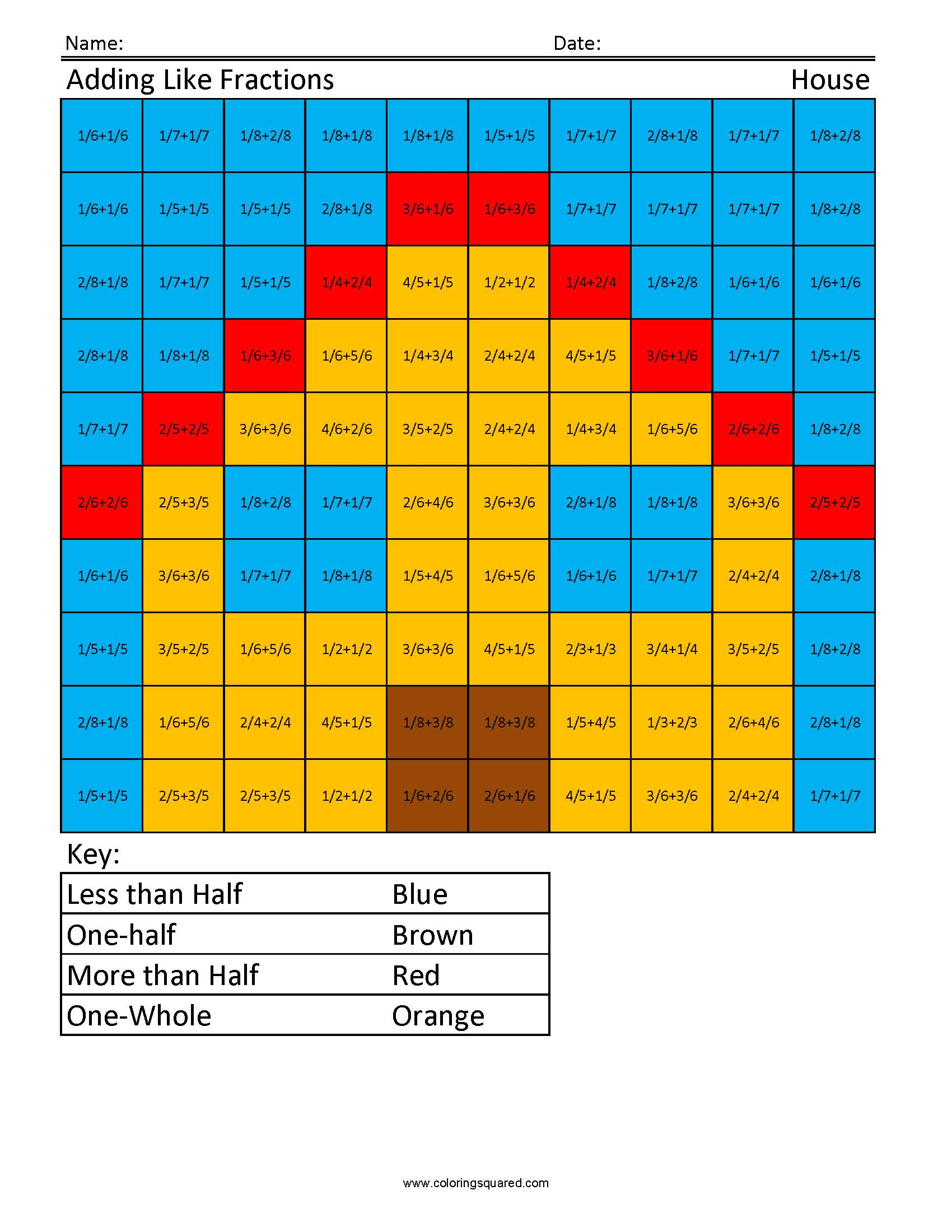 4g30 Adding Fractions House 4th Grade Math