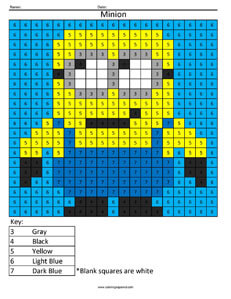 Minion Color By Number Answer Key