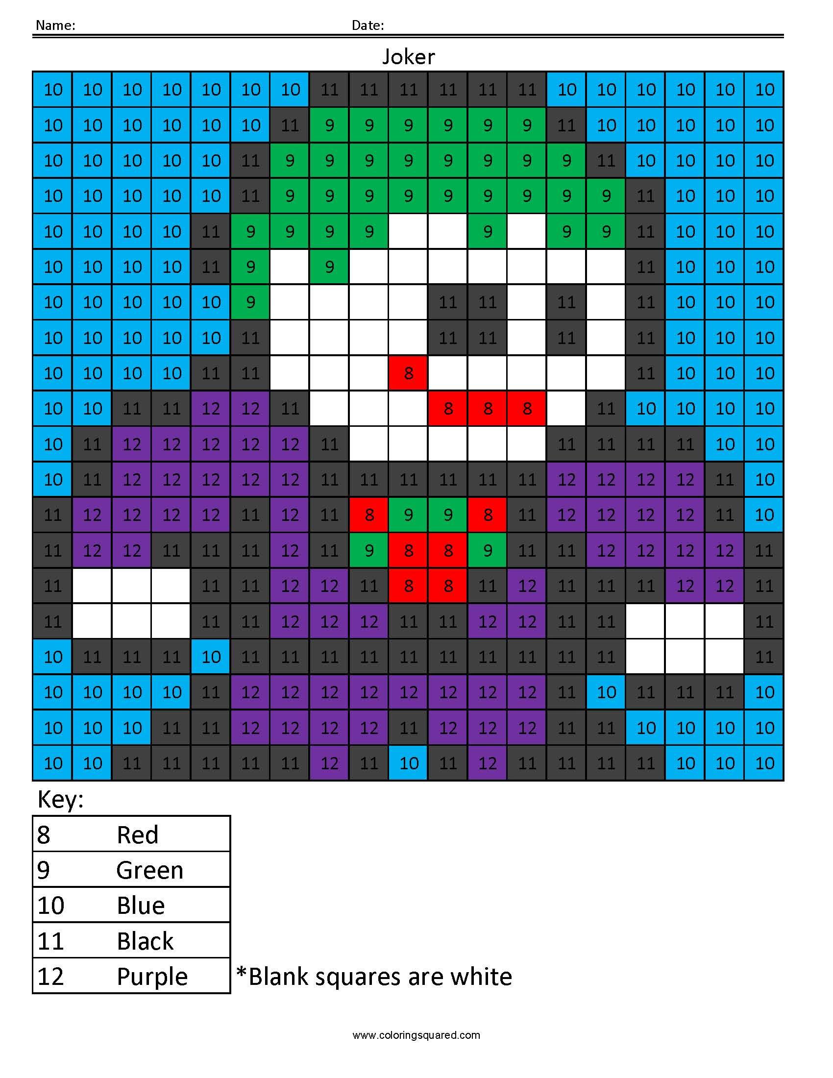Joker Color By Number Superhero Activity