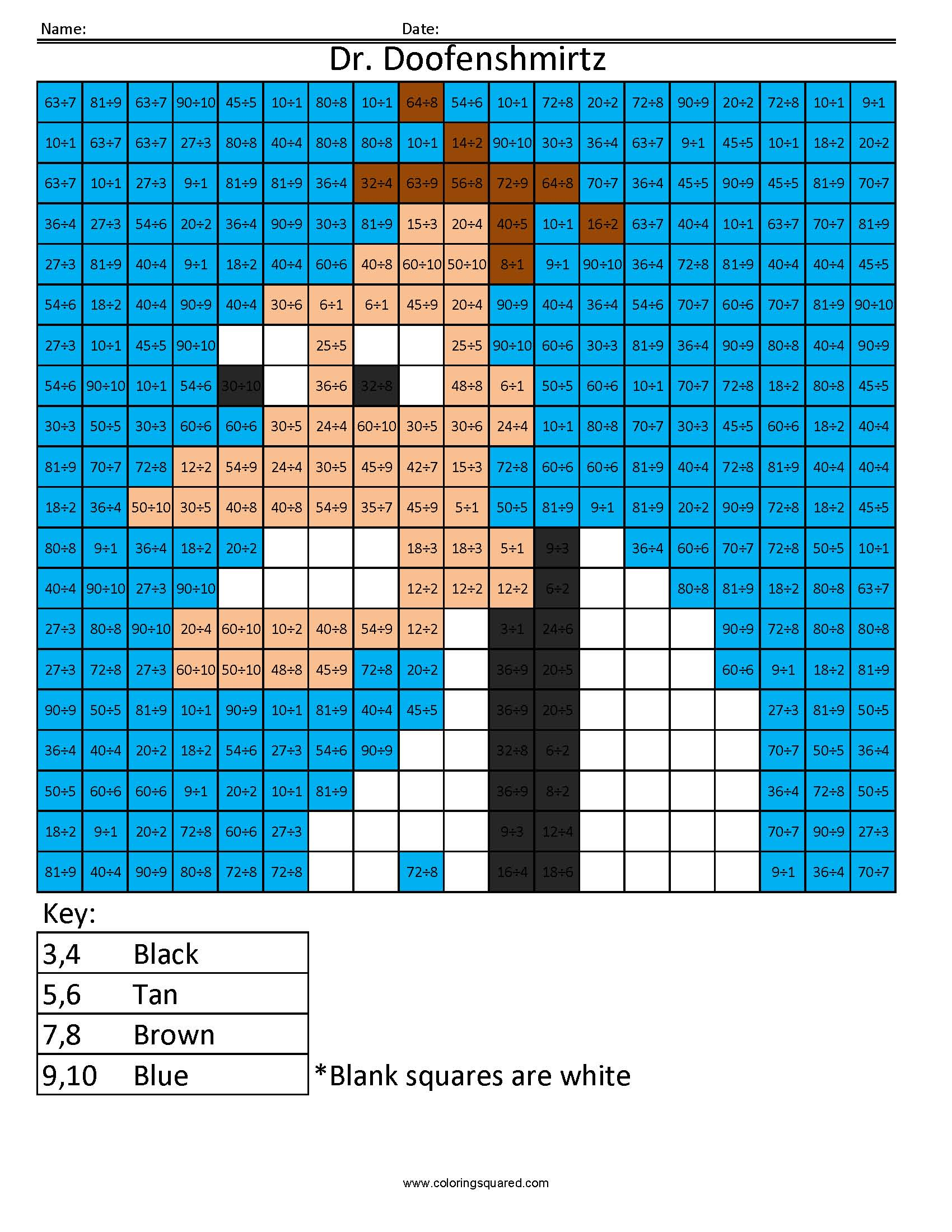 Cartoon Multiplication And Division Coloring Squared