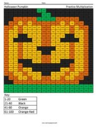 free halloween math coloring sheets
