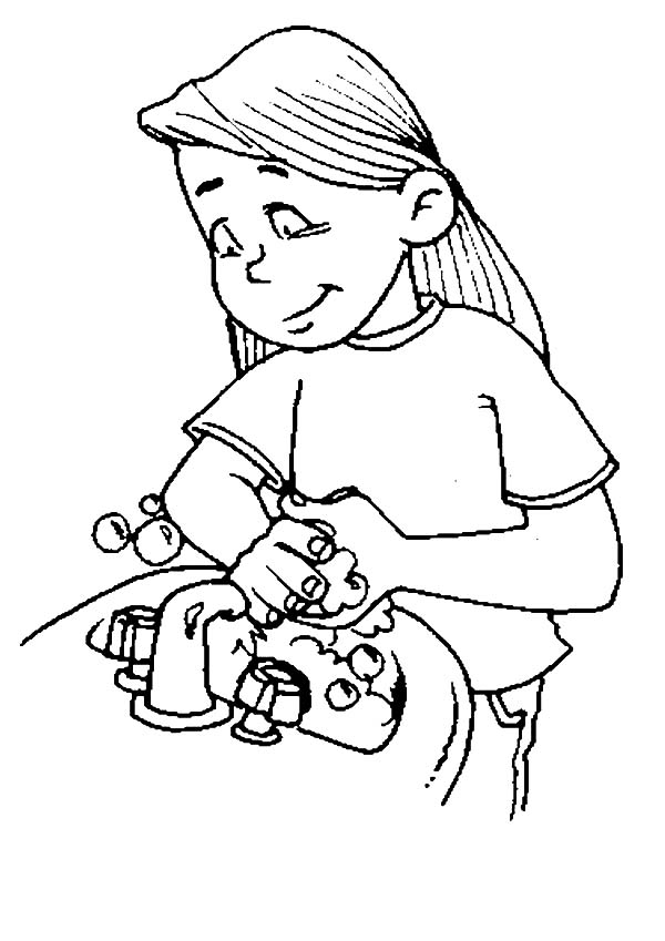 gather water  hand washing coloring pages gather