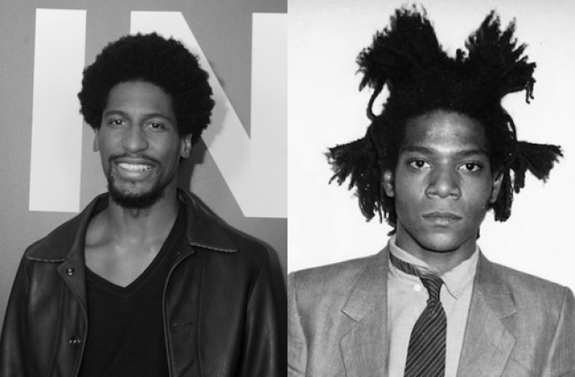 Jon Batiste and Jean-Michel Basquiat. Black-and-white image of Black man in black leather jacket and shirt in front of background with text. Black-and-white image of Black man with black dredlocs in suit on white wall