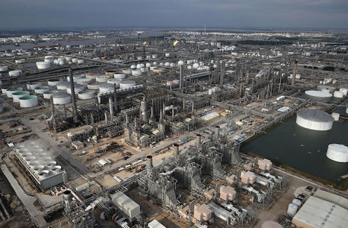 An oil refinery is shown near Houston following Hurricane Harvey August 30, 2017 in Houston, Texas.