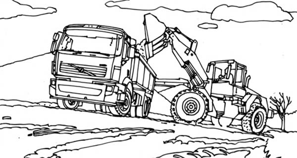 vtn tractor filling truck with dirt in digger coloring page - Digger Coloring Pages