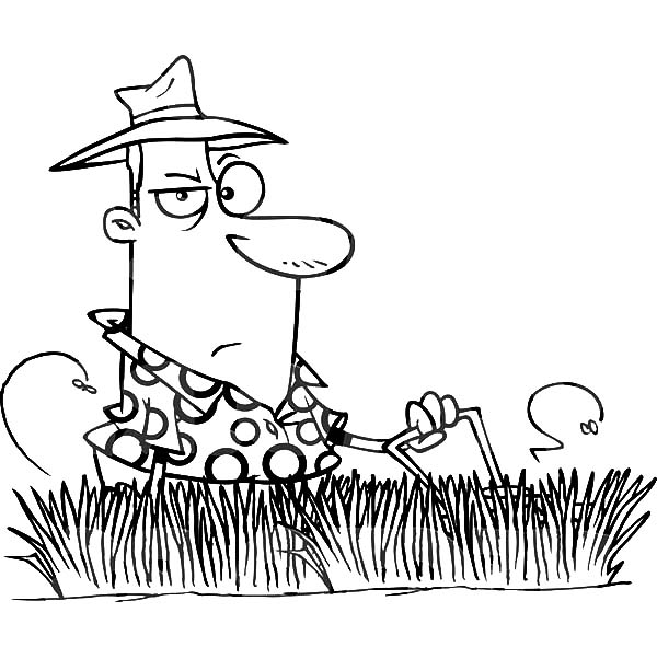 man mowing tall grass coloring pages  color luna