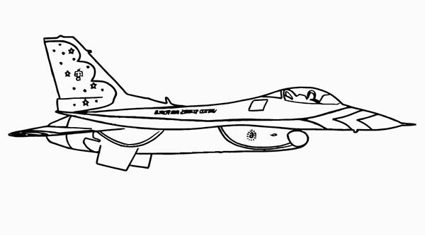 Airplane F16 Protect Our Sky Coloring Page Jpg