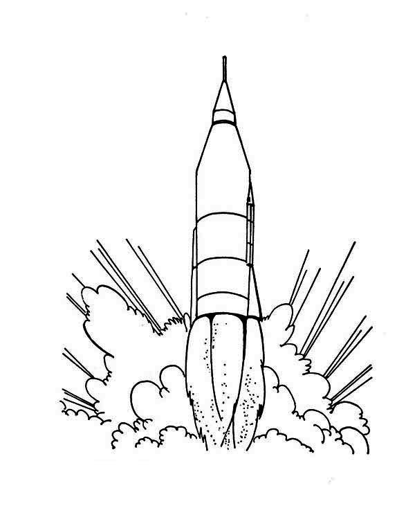Rocket Ship Launching Coloring Page For Kids Rocket Ship