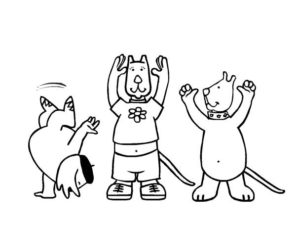 Pets Doing Gymnastic Move Coloring Page Download Amp Print