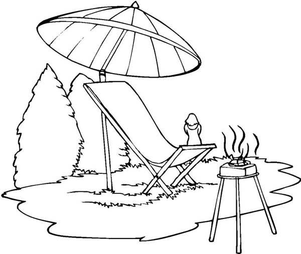 summer camp barbeque coloring page  download & print