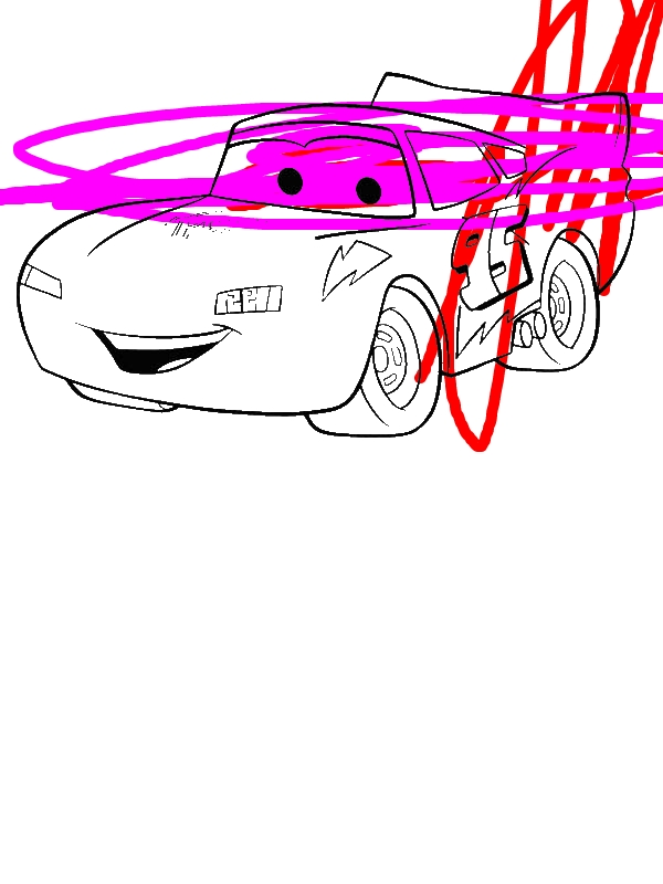 Awesome Lighting McQueen In Disney Cars Coloring Page