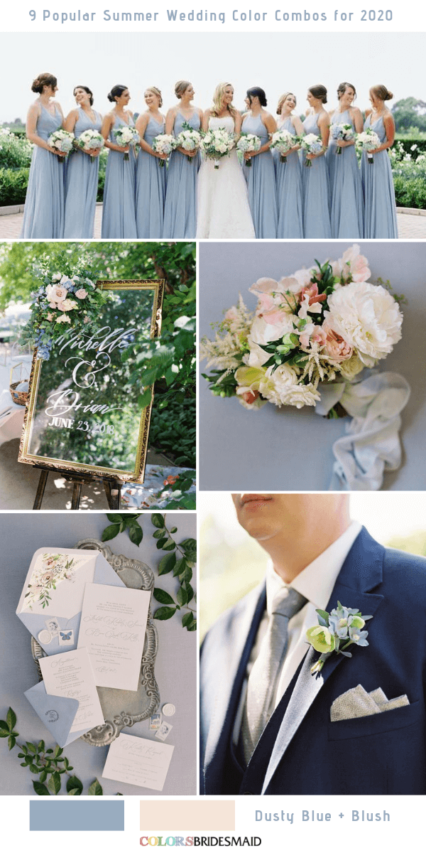Popular Summer Wedding Color Combos for 2020- Dusty Blue and Blush