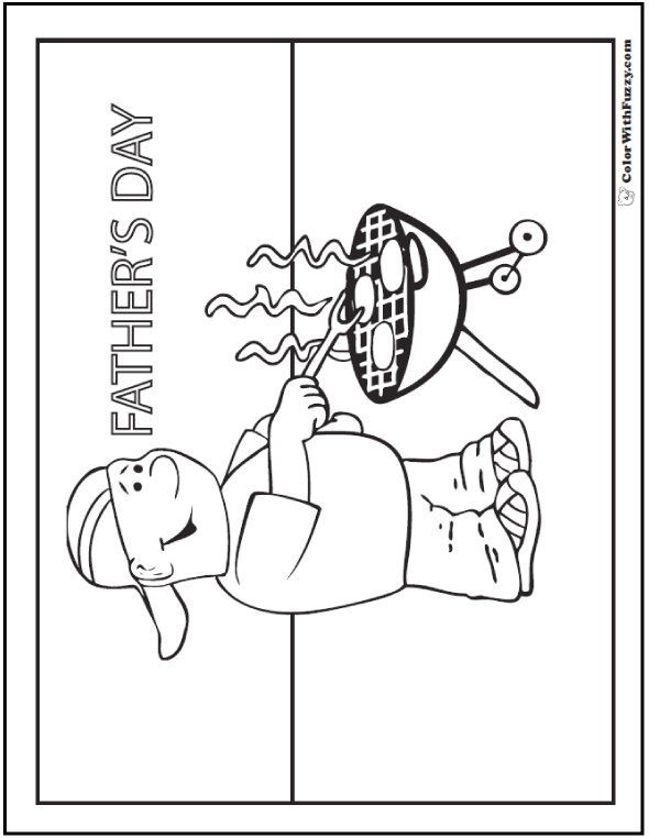 coloring pages for father's day grillin' some burgers