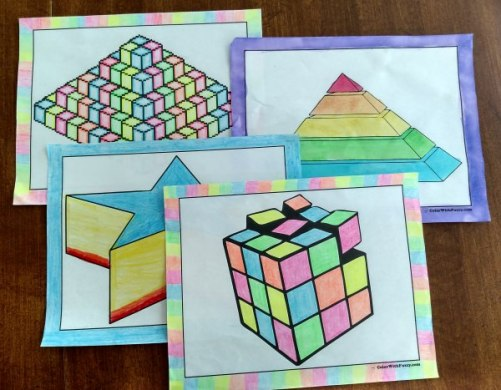 3D Coloring Pages        Geometrics And Three D Shapes 3D Coloring Pages To Print