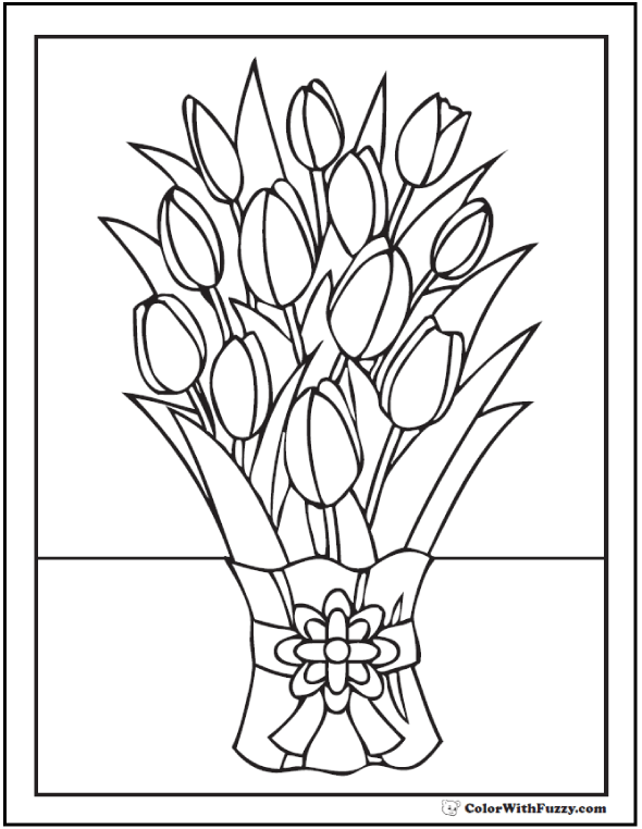 Preschool Tulip Coloring Pages