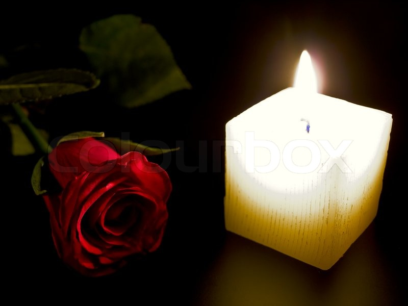Candle And Red Rose In The Night Stock Photo Colourbox